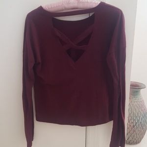 Maroon Long Sleeve Detail Tee